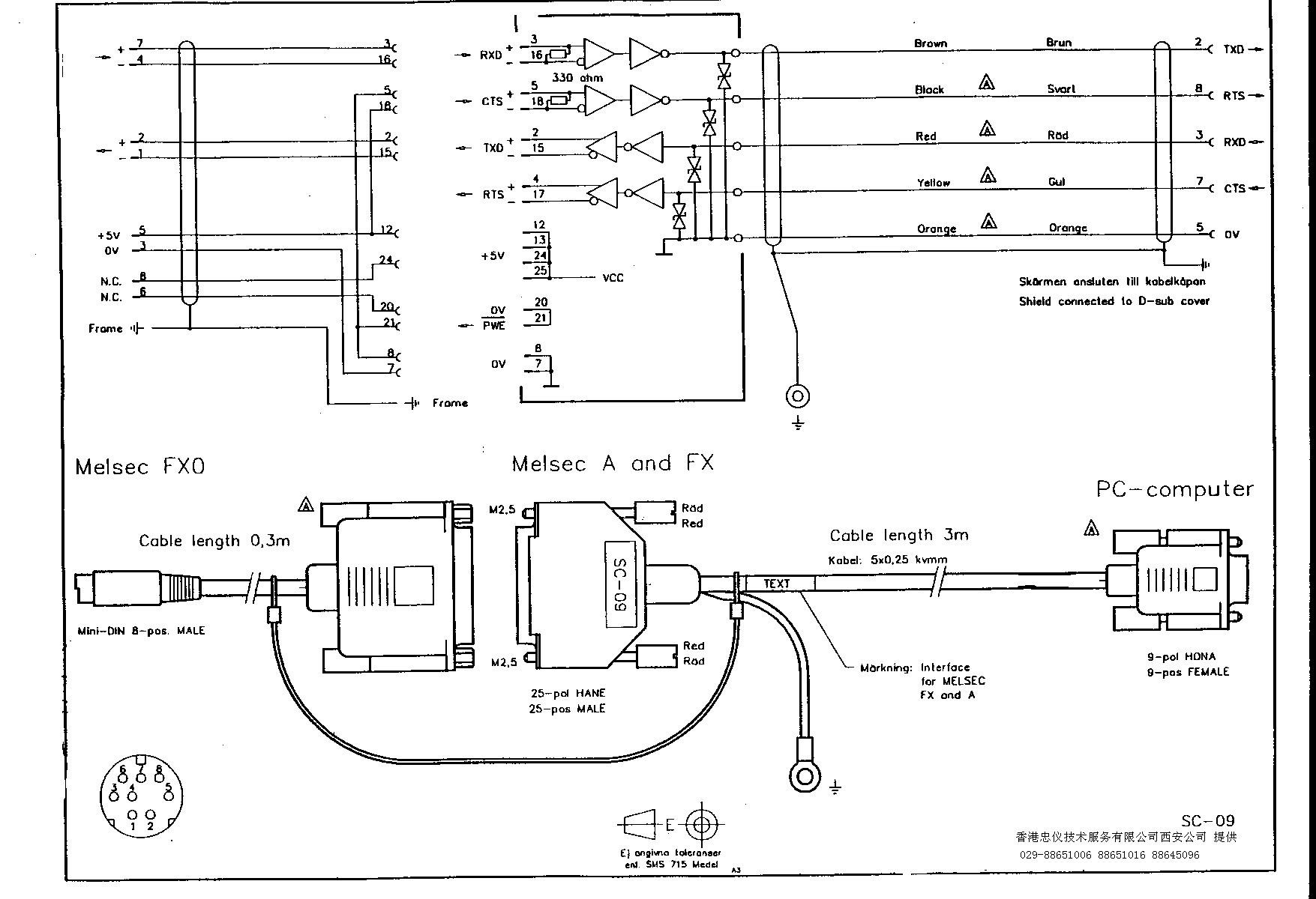 三菱plc编程线sc-09接线示意图